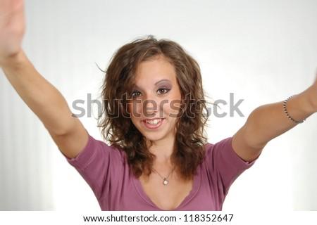 Winning success woman happy ecstatic celebrating being a winner. - stock photo