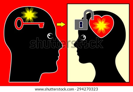 Winning the Heart of a Woman. Finding the key to a woman's heart starts with attention and patience  - stock photo