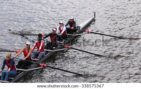 Winsor BOSTON - OCTOBER 18, 2015: races in the Head of Charles Regatta Women's Youth Eights [PUBLIC RACE] - stock photo