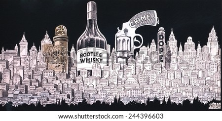 Winsor MaCay 1920's cartoon depicts a cityscape of Bootleg Whisky Crime Dope and Get Rich Quick money lust. - stock photo