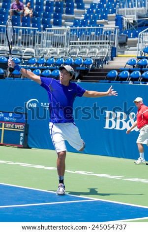 WINSTON-SALEM, NC, USA - AUGUST 16: Jonathan Ho plays on center court at the Winston-Salem Open on August 16, 2014 in Winston-Salem, NC, USA - stock photo