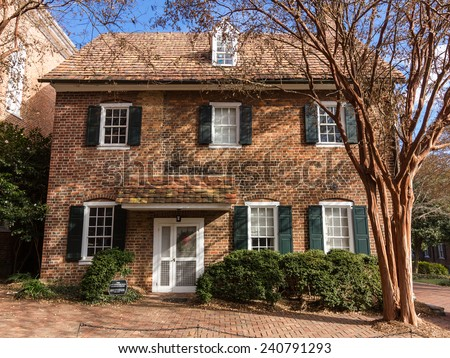 WINSTON-SALEM, NC, USA - DECEMBER 27:Annie Spencer Penn Alumnae House, built before 1817, at Salem College on December 17, 2014 in Winston-Salem, NC, USA - stock photo