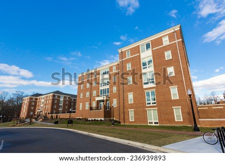 WINSTON-SALEM, NC, USA - DECEMBER 10: Dogwood and Magnolia Residence Halls, built in 2013, at Wake Forest University on December 10, 2014 in Winston-Salem, NC, USA - stock photo