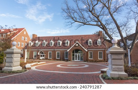 WINSTON-SALEM, NC, USA - DECEMBER 27:Student Center and Plaza, built in 2014, at Salem College on December 17, 2014 in Winston-Salem, NC, USA - stock photo
