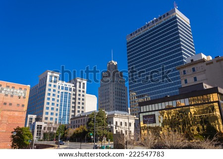 WINSTON-SALEM, NC, USA - FEBRUARY 24: Downtown Winston-Salem from Liberty and Third Streets on February 24, 2013 in Winston-Salem, NC, USA - stock photo