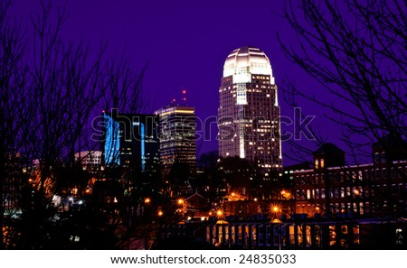 Winston-Salem Skyline at night - stock photo