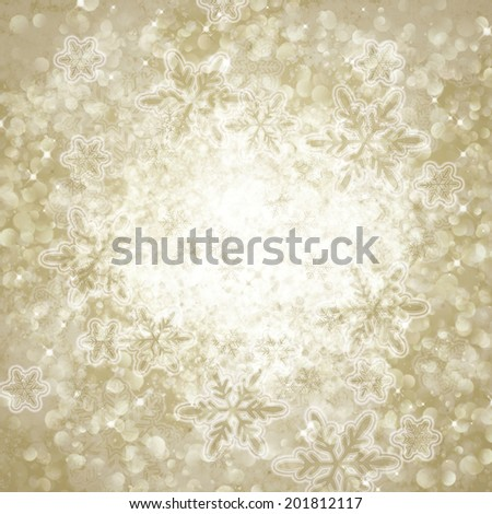 winter abstract background with bokeh lights, snowflakes - stock photo