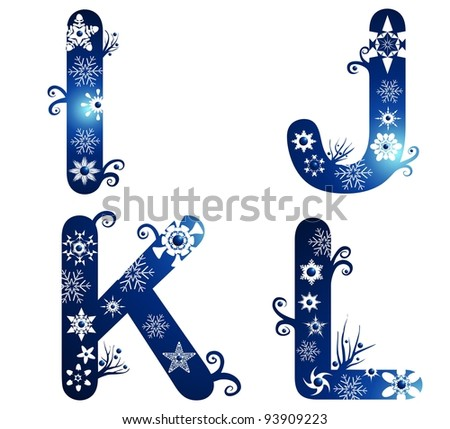winter alphabet set letters I - L - stock photo