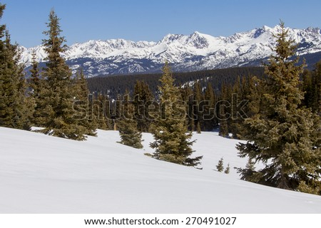 Winter at Vail Pass, Colorado - scenic view of the Rocky Mountains. - stock photo