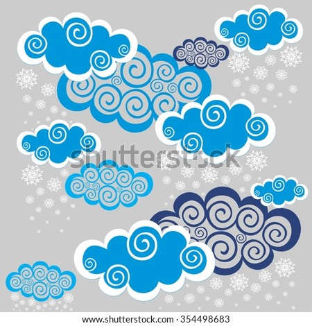 Winter background. Seamless night sky background. Illustration - stock photo