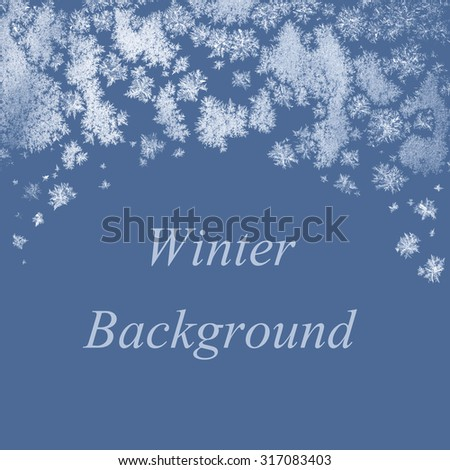Winter background with frosty ice crystals and copy space on solid blue color - stock photo