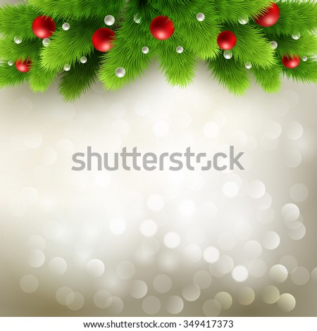Winter background with green pine branch and baubles. Christmas  tree decoration. Raster copy - stock photo