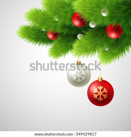 Winter background with isolated pine branch and baubles. Christmas  tree decoration.  - stock photo