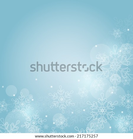 Winter background with snowflakes and space for text. Raster illustration. - stock photo