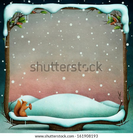 Winter background with snowy wooden frame - stock photo