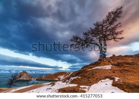 Winter Baikal lake landscape on Olkhon island - stock photo