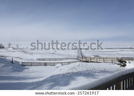 Winter blizzard on Lake Huron, Canada - stock photo