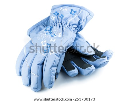 Winter blue gloves isolated on white background - stock photo