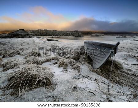 Winter boats in Killarney National Park - stock photo