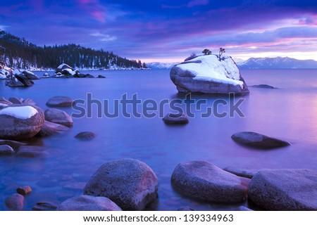 Winter Bonsai Rock at Lake Tahoe, Nevada - stock photo