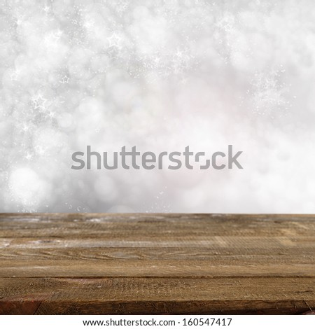 winter brown table  - stock photo