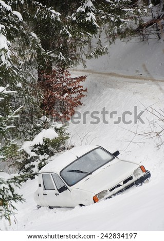 Winter car accident  - stock photo