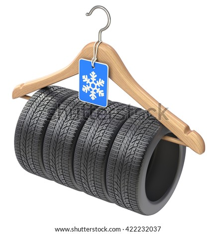 Winter car tyre on wooden hanger  - 3D illustration - stock photo