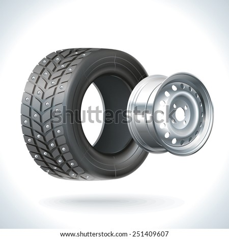 Winter car wheel unassembled - tires and wheels on the same axle - stock photo