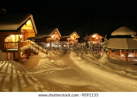 Winter Chalet Community - stock photo
