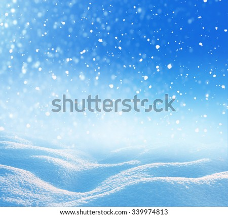 Winter christmas background with falling snow  - stock photo