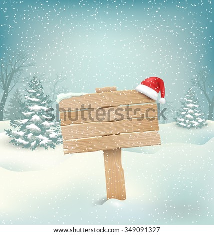 Winter Christmas Background with Wooden Signpost and Santa Hat - stock photo