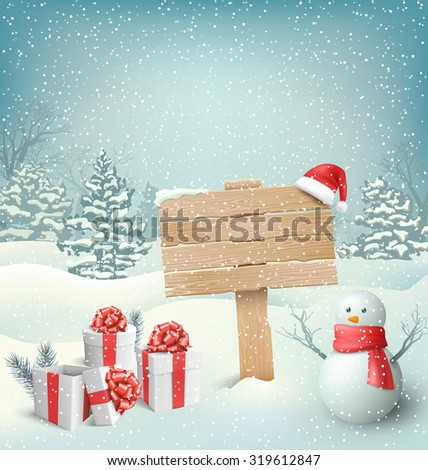 Winter Christmas Background with Wooden Signpost Snowman and Gift Boxes - stock photo