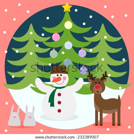 Winter christmas card with funny deer, snowman, rabbits and fir with glass holiday balls - stock photo