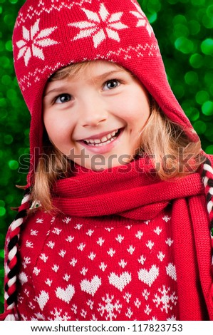 Winter, Christmas,  kid - portrait of lovely girl at Christmas time - stock photo