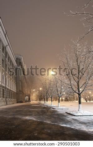 winter city at night - stock photo