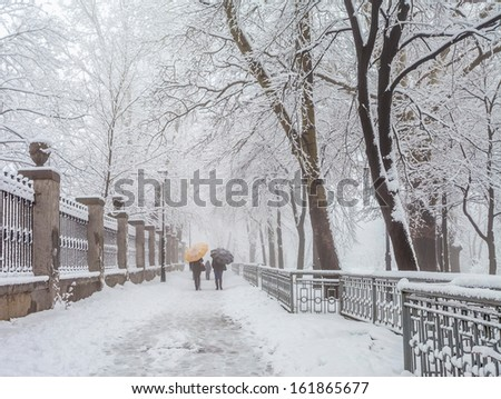 winter city park in morning - stock photo
