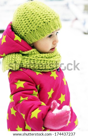 Winter clothes for kids - stock photo