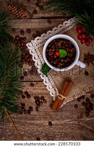 winter coffee with christmas background - stock photo