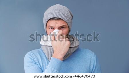 winter cold infect man portrait - stock photo