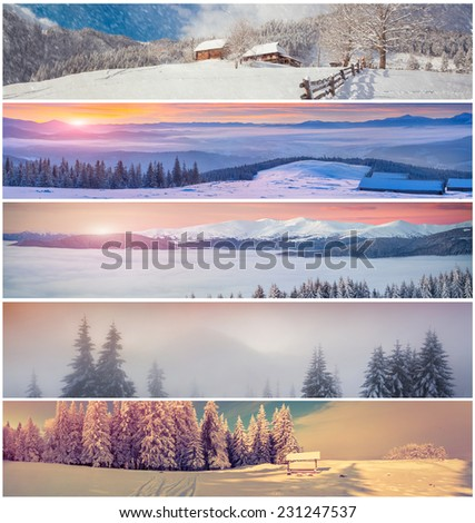 Winter collage with 5 different Christmas landscape for banners. - stock photo
