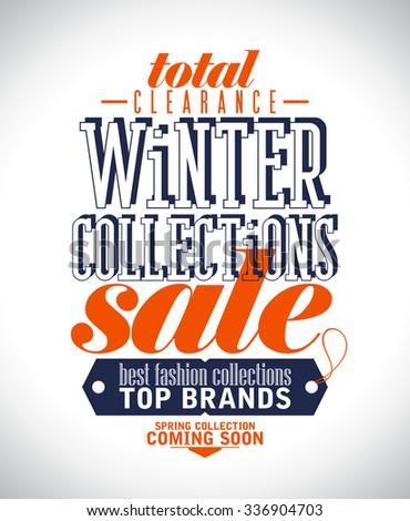 Winter collections sale poster in retro style, rasterized version. - stock photo