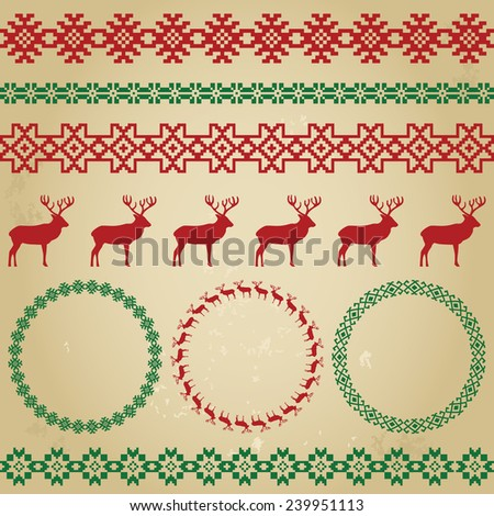 Winter colorful holiday set on beige grunge background. Deer and snowflake, nordic round holiday decoration patterns. Could be used for web, cards, decorations, etc. Raster copy - stock photo