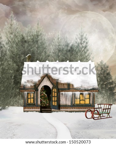 Winter cottage in a fabulous scenery - stock photo
