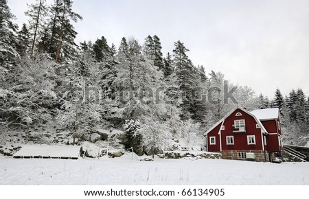 Winter country landscape in southern Sweden - stock photo
