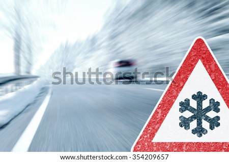 Winter Driving - Caution Ice and Snow - stock photo