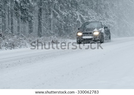 Winter Driving - risk of snow and ice - stock photo