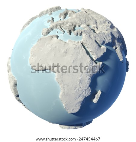 Winter earth isolated on white background. 3d render. Continent Africa. Elements of this image furnished by NASA - stock photo