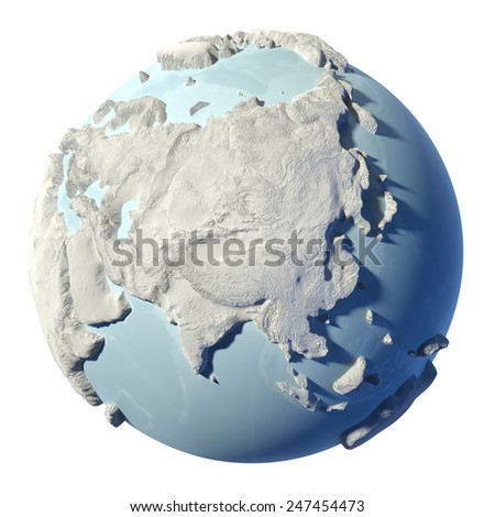 Winter earth isolated on white background. 3d render. Continent Asia. Elements of this image furnished by NASA - stock photo