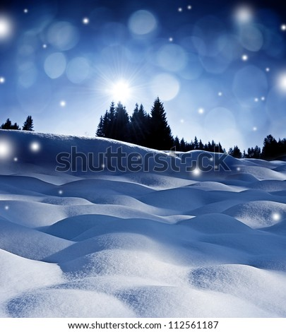 winter evening with sunset - stock photo