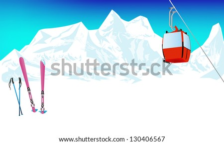 Winter extreme sports skiing rest in Alpine resorts - stock photo